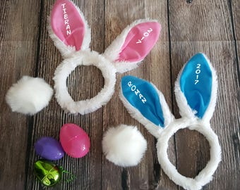 Easter Bunny Ears & Tail Set Personalized Bunny Ears Headband and Tail Set Easter Bunny Set for Girls Boys Pink Bunny Ears, Blue Bunny Ears