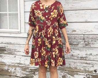 Vintage 80s-90s babydoll dress,floral,short,lose fit,boho,hippy,cute,feminine,chick,grunge,sun dress,summer,light
