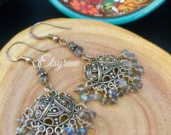 Bohemian Vintage Black Marquise Sterling silver Chandelier Earrings-Labradorite statement Earrings-Gift Girly Long earrings-Gunmetal hoops