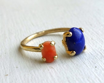 Lapis Lazuli and Coral Ring in Brass Dual Ring by Rachel Pfeffer