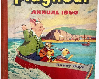 PLAYHOUR Annual Pictures and Stories Vintage Children's  1960 England Amalgamated Press 1959 Harcover Book
