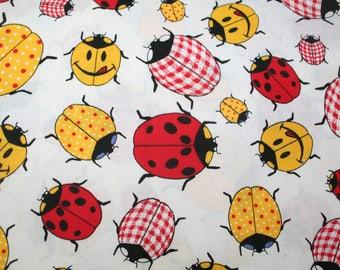 Vintage~Joe Boxer~ Ladybug Fabric ~ 1/2 yd ~ Ladybugs on White