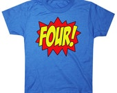 Kids SUPERHERO Fourth Birthday T-shirt