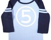 Kids Fifth Birthday Light Blue & Navy Long Sleeve Raglan T-shirt