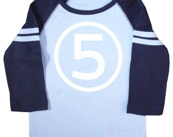 Kids Fifth Birthday Light Blue & Navy Long Sleeve Raglan T-shirt