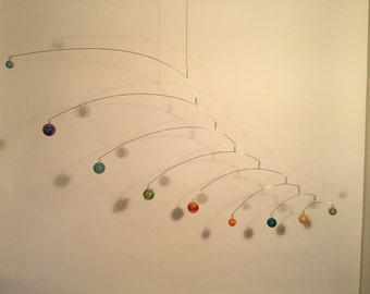 Modern Art Calder Style 9 Planets Mobile with Spinners on each Bar, Fully Rotates, 3D Planets, Glow in the Dark, Pluto too!
