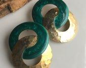 MARCH MADNESS SALE Vintage Big Double Hoop Earrings, Brass and Enamel Earrings, Green Enamel, Post Earrings, Etsy, Etsy Jewelry, 80s Earring