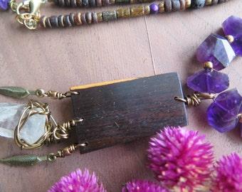 Raw Clear Quartz Crystal Statement Necklace - Dark Purple Black Brown - Dreamcatcher - Long Boho Gypsy Jewelry - Brass Feather Wood Pendant