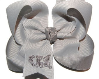 Grey Monogrammed Bow - Monogram Headband Bow - Baby Bow - Toddler Bow - Personalized Bow - Embroidered Bow