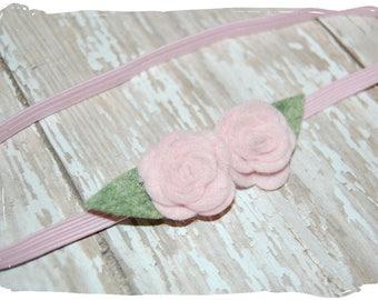 Pink Rose Baby Headband - Felt Flower Headband - Newborn Headband - Infant Headband - Photo Prop
