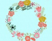 Spring Wreath Shabby Chic Floral Flowers - Large 8in x 8in - Machine Embroidery Pattern