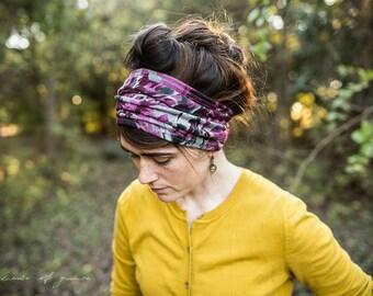 Plum Brushstroke Stretch Headwrap Garlands of Grace headband headcovering hair wrap