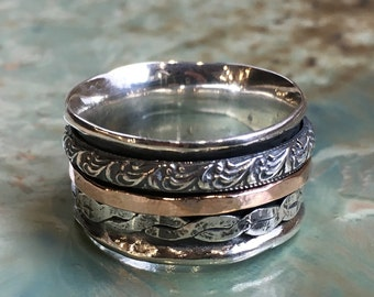 Spinner ring, Silver gold ring, wedding band, stacking rings, gold silver ring, boho ring, Mens band, unisex ring - Hidden Place R2459