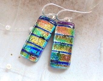 Gold Earrings, Pink, Blue, Green, Dichroic Glass Earrings, Glass Jewelry, Dangle, A6