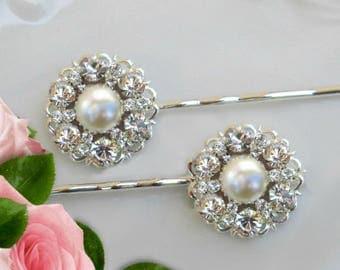 Wedding Hair Pins, Bridal Hair clips, Pearl bobby pins, Wedding Hair Clips, Crystal and Pearl,  Wedding Hair Accessory, Bridal hair pins