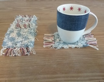 Handwoven Mug Rugs, Coasters made from Recycled Cotton Afghan Selvage