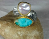 Reserved for C, Turquoise and Pearl Statement Ring, Bypass Ring,  22 kt yellow  gold , silver  and Stone ring, Open gemstone ring