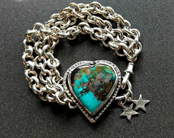 Turquoise Bracelet, Chunky sterling chain and turquoise heart bracelet,  American Turquoise  Bracelet,  Turquoise jewelry
