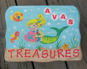 MERMAID Personalized Wood Keepsake Trinket Box - Original Painting & Vintage Print- New Baby Girl Gift