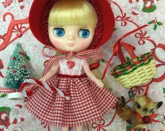 Holiday SALE...Middie Blythe Christmas Dress+ Lovely Wool Bonnet + Deer Set.. Red Gingham...Handmade and Ooak!