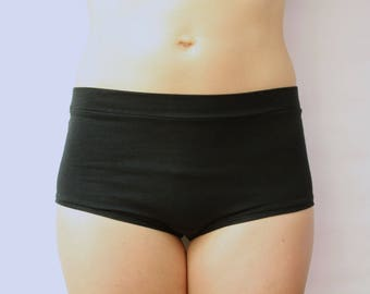 ready to ship / high waisted panties / super soft bamboo jersey / by replicca / black / size large / SALE