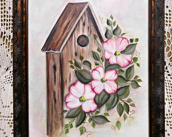 Spring Dogwoods and Birdhouse Canvas Board Hand Painting, 12 by 16, Framed Wall Decor, Spring Home Accent, ECS