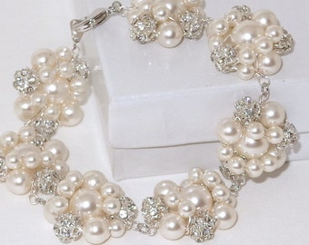 Swarovski Pearl and Crystal Bridal Cluster Bracelet Wedding Rhinestone Accents Ivory or White Jewelry Bridesmaids Gift