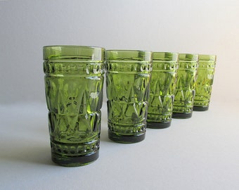 Vintage Green Glasses, Park Lane Glasses, Iced Tea Glasses, Bar Glasses, Kitchen Glasses, Set of 5