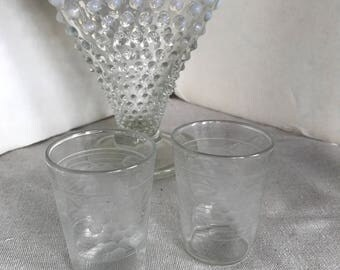 Ribbed Grape Shot Glass Pair