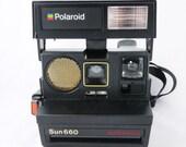 Vintage Black Polaroid Autofocus 660 Sonar Instant Camera (Battery Tested)