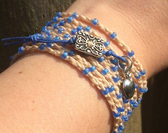 Beaded crochet bracelet, wrap bracelet, beaded necklace, beaded anklet, brown and blue, bohemian jewelry, boho style, beach jewelry