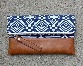 Blue Southwestern fabric Foldover Clutch