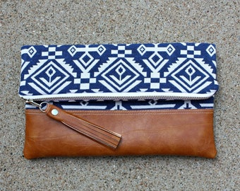 Blue Upholstery Aztec Navajo Foldover Clutch
