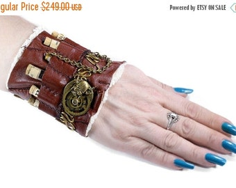 Steampunk Textile Cuff, Wrist Cuff APOTHECARY LEATHeR, Cork Vials Chains GEaRS Beetle Coils Steam Punk - Steampunk Clothing by edmdesigns