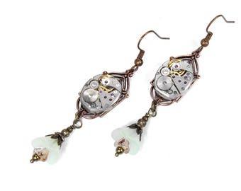Steampunk Jewelry, Steampunk Earrings ELGIN Watch Copper Opal Gold Bell Flowers Dangle ART DECO Wedding Mothers Day - Jewelry by edmdesigns