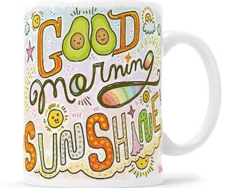 Avocado Gift Avocado Mug Vegan Gift Vegan Mug Vegetarian Gift Vegetarian Mug Morning Mug Kawaii Mug Sunshine Mug Sunshine Mug Coffee Mug
