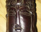Vintage Hand Carved Wood Buddha Container Secret Box Bottle, Screw Off Top, Ceremonial Statuary