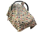 CLEARANCE Organic Infant Seat Canopy | Elephants