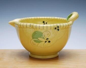 Batter / mixing Bowl in Buttercup gloss w. Lime green dots & Navy detail, Handmade Victorian modern