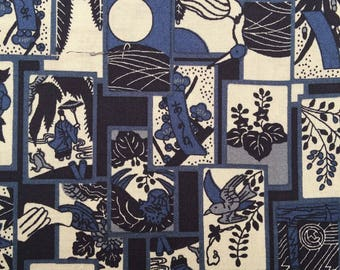 Sevenberry Hanafuda blue and white Japanese cotton fabric