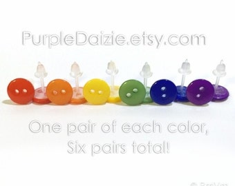 Rainbow Buttons Post Earring Set Kawaii Stud Earrings Six Pairs No Metal Acrylic Plastic Posts Hypoallergenic Sensitive Ears Nickel Free