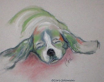 Basset Hound Dog Art Abstract Framed Pastel Drawing By Cori Solomon