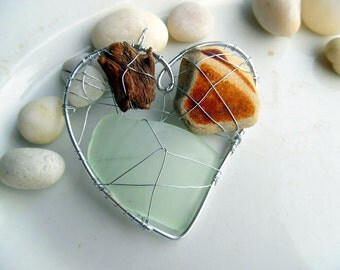Seagreen Beach Glass Heart Suncatcher with Driftwood and Beach Pottery