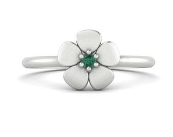Alexandrite Mother's Ring with Flower Design in 14k White, Yellow, or Rose Gold - June Birthstone - Laurie Sarah Flower Collection - LS4602