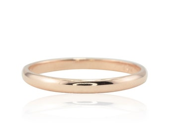 Rose Gold Wedding Band, Dainty and thin 14kt Rose Gold Knuckle Ring or Wedding Band for Her - LS2248