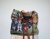 SAMPLE///Agatha in Vintage Military Canvas, Textile, and Leather with Oil Tanned Messenger Strap
