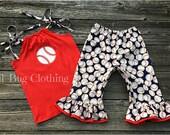 Baseball Girls Outfit, Baseball Top & Short Outfit, Custom Boutique Girl Baseball Capri Set