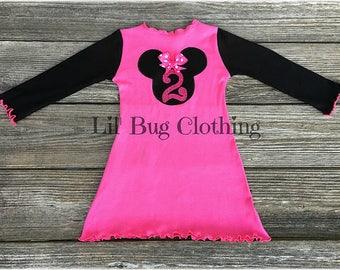 Personalized Minnie Mouse Pink Dress, Minnie Mouse Birthday Girl Dress, Minnie Mouse Comfy Knit Dress