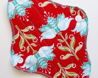 """8"""" Cotton Panty Liner Cloth Menstrual Pad, Red Blue Art Deco Flowers White, Washable Reusable Liner Incontinence Pad, Cloth Sanpro, Moon Pad"""