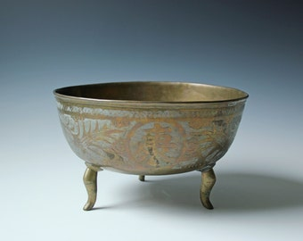 Old Chinese brass footed bowl large - incised pattern of Chinese characters